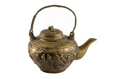 Isolated Antique Chinese Bronze Teapot Handle Up. Isolated on White image of an antique chinese teapot with engravings of people and floral imagery with handle Royalty Free Stock Images