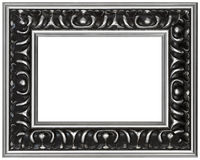 Isolated Antique Designer Picture Frame. Silver Carved Wood Antique Picture Frame isolated on White Background Royalty Free Stock Photos