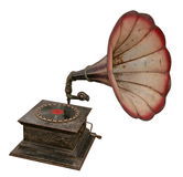 Isolated antique gramophone. Isolated antique sound output phonograph or gramophone Stock Image