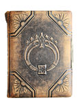 Isolated antique leather book royalty free stock photography