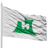 Isolated Aomori Japan Prefecture Flag on Flagpole Royalty Free Stock Images