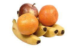 Isolated Apple Bananas and Oranges on White Stock Photography