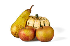 Isolated apple, pear and pumpkin Royalty Free Stock Photos