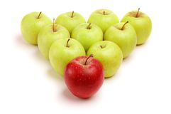 Isolated apples. Green apples with red leader Stock Photos