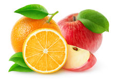 Isolated apples and oranges Royalty Free Stock Images