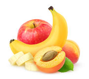 Isolated apricot, banana and apple Stock Photos