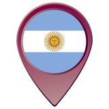 Isolated Argentinian flag. On a map pin, Vector illustration Stock Photos