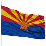 Isolated Arizona Flag on Flagpole, USA state Royalty Free Stock Photo