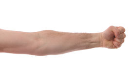 Isolated Arm with Fist. An arm with a clenched fist, isolated on white Royalty Free Stock Photography
