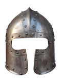 Isolated Armour Helmet. Isolation Of The Helmet Of A Medieval Suit Of Armour On A White Background royalty free stock photography