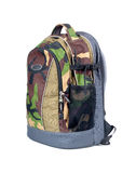 Isolated Army Camouflage backpack Stock Photography