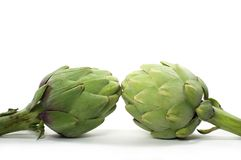 Isolated Artichokes. Two artichokes isolated on white Royalty Free Stock Photos
