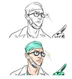 page with portrait of a cartoon doctor Stock Image