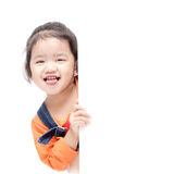 Isolated asian girl holding blank board Stock Photo