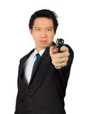 Asian male carry a gun on white Royalty Free Stock Images
