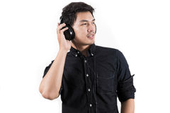 Isolated asian man with headset Royalty Free Stock Image
