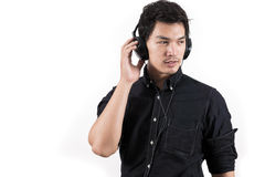 Isolated asian man with headset Royalty Free Stock Photography