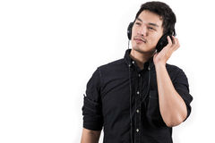 Isolated asian man with headset Stock Image