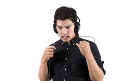Isolated asian man with headset Stock Photos