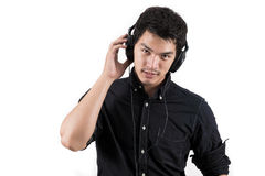 Isolated asian man with headset Royalty Free Stock Images