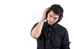 Isolated asian man with headset. Photo of Isolated asian man with headset Stock Photo