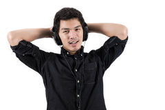 Isolated asian man with headset. Photo of Isolated asian man with headset Stock Photos