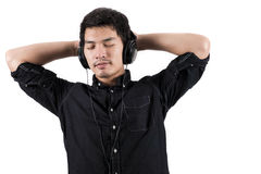 Isolated asian man with headset. Photo of Isolated asian man with headset Royalty Free Stock Photography