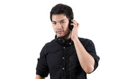 Isolated asian man with headset. Photo of Isolated asian man with headset Royalty Free Stock Photos