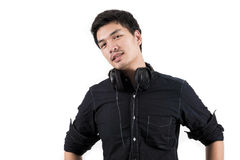 Isolated asian man with headset. Photo of Isolated asian man with headset Royalty Free Stock Photo