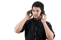 Isolated asian man with headset Stock Photography