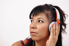 Asian woman with headphone Royalty Free Stock Images