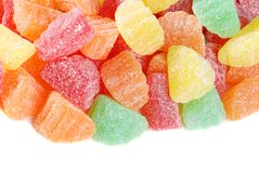 Isolated assorted fruit slice candy Royalty Free Stock Photo