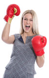 Isolated attractive blonde businesswoman ready to fight with box Royalty Free Stock Images