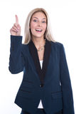 Isolated attractive blonde young business woman has an idea. Stock Photos