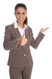 Isolated attractive business woman with thumbs up and palm gestu Stock Image