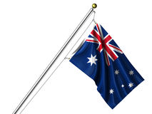 Isolated Australian Flag. Detailed 3d rendering of the flag of Australia hanging on a flag pole isolated on a white background.  Flag has a fabric texture and a Royalty Free Stock Photos