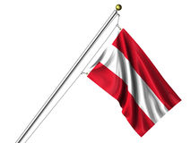 Isolated Austrian Flag. Detailed 3d rendering of the flag of Austria hanging on a flag pole isolated on a white background.  Flag has a fabric texture and a Royalty Free Stock Photography