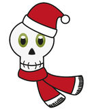 Isolated avatar of skull in festive Christmas apparel Stock Photo
