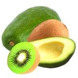 Isolated avocado and kiwi on white background Royalty Free Stock Image