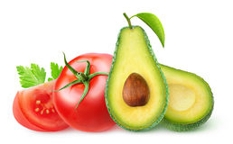 Isolated avocado and tomatoes Royalty Free Stock Image