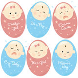 Isolated Babies Set 2. Three baby girls and three baby boys with different expressions royalty free illustration