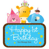 Isolated baby animals with first birthday sign (bl
