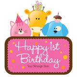 Isolated Baby Animals With First Birthday Sign Royalty Free Stock Photos