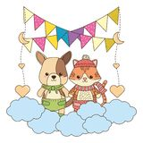 Isolated baby dog and cat design royalty free illustration