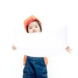 Isolated baby girl engineer Stock Image