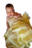 Isolated Baby in yellow blanket. Baby in yellow blanket on a white background Stock Photography