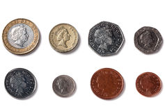 Isolated Back facing coins of United Kingdom. England Royalty Free Stock Images