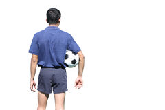 Isolated back of a football referee holding the ball over white Stock Image