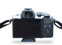 Isolated Back Side of Digital Camera with White Background. Mirrorless Stock Photography