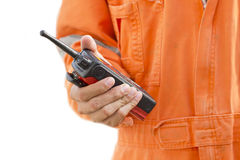 Isolated background.Portable walkie-talkie radio Royalty Free Stock Images